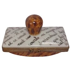Limoges Ink Blotter Porcelain Pill Box