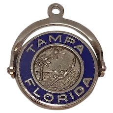 Tampa Florida Sterling Enameled Spinner Travel Charm