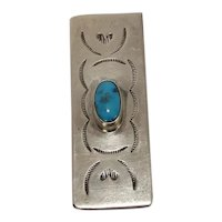 Native American Sterling Turquoise Money Clip