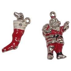Enameled Santa and Stocking Christmas Charms