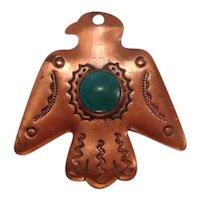 Native American Turquoise Copper Thunderbird Pendant