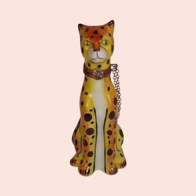 Limoges Cheetah Porcelain Pill Box