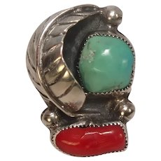 Native American Turquoise Coral Feather Ring Size 5