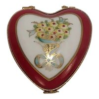 Limoges Hand Painted Floral Ma Cherie Sweetheart Porcelain Heart Pill Box