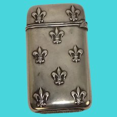 Antique Sterling Fleur di Lis Match Safe or Vesta