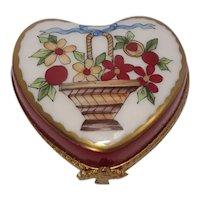 Limoges Basket of Flowers Love Heart Porcelain Pill Box