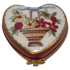 Limoges Basket of Flowers Love Heart Porcelain Pill Box
