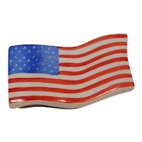 Limoges American Flag Porcelain Pill Box