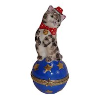 Limoges Hand Painted Cat on Ball Porcelain Pill Box