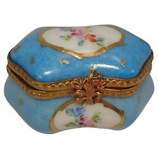 Limoges Hand Painted Floral and Leaf Porcelain Pill Box