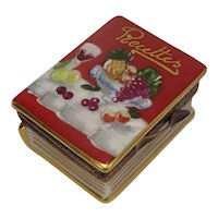 Limoges Hand Painted Recipe Recettes Book Porcelaine Pill Box