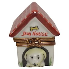 Limoges Dog House Hand Painted Porcelain Pill Box