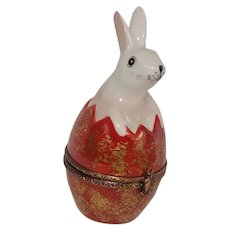 Limoges Rabbit and Egg Easter Hand Painted Porcelain Pill Box