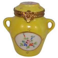 Limoges Floral and Leaf Yellow Urn Porcelain Pill Box