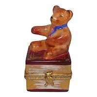 Limoges Teddy Bear on Book Porcelain Pill Box