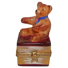 Limoges Teddy Bear on Book Porcelain Pill Box