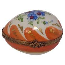 Limoges Parry Vielle Floral and Leaf Porcelain Egg Pill Box