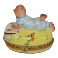 Limoges Bear in Pajamas Pondering Book Porcelain Pill Box