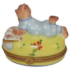 Limoges Bear in Pajamas Pondering Book Porcelain Pill Box