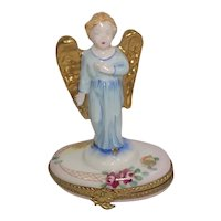 Limoges Angel with Gold Wings Roses Porcelain Hand Painted Pill Box