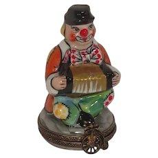 Limoges La Gloriette Clown with Accordion Hand Painted Porcelain Pill Box
