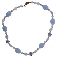 Miriam Haskell Lavender Blue Glass Bead Necklace 17""