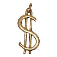Large Brass Dollar Sign $ Charm
