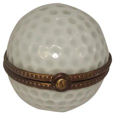 Limoges Golf Ball Porcelain Pill Box