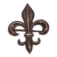 Vintage Sterling Beaded Border Fleur di Lis Watch or Lapel Pin