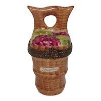 Limoges Grape Harvest Basket Baujolais Porcelain Pill Box