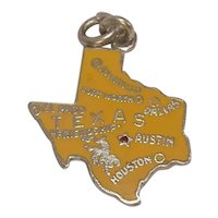 Texas State Enameled Sterling Charm