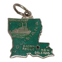 Louisiana State Sterling and Enameled Charm