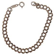 "Sterling Double Curb Link Charm Bracelet 8"""