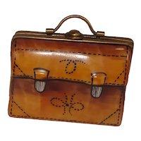 Limoges Rochard Leather Satchel Math Briefcase Porcelain Pill box