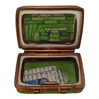 Limoges Briefcase Hand Painted Porcelain Pill Box