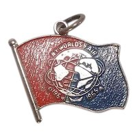 1964 New York Worlds Fair Flag Sterling Enameled Charm
