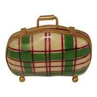 Limoges Gingham Travel Suitcase Porcelain Hand Painted Pill Box