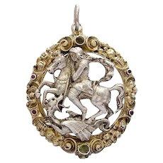 St. George Dragon slayer silver gilt Art Nouveau pendant