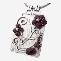 Gorgeous Rare Art Deco 800 Silver Garnet Pendant Flowers Seed Pearl Original 1930s