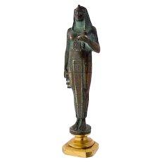 Art Deco Seal Signet Armorial Shield Egyptian Revival Bronze statue figure ankh cross temple priest