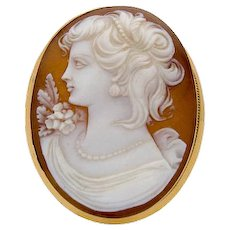 Vintage Cameo 750 Gold Pendant / Brooch c.1930 - 1950 Shell Lady