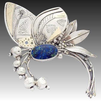 925 Sterling Silver Pin Brooch Butterfly Leaves 750 Gold Applications Lapis Lazuli