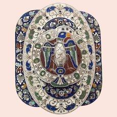 Art Nouveau Piel Frères Enamel Belt Buckle plated with Silver Freres