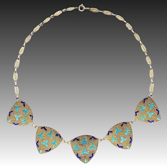 Theodor Fahrner Art Deco 925 Sterling Silver Gilt Necklace Enamel