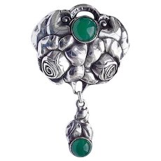 Art Nouveau 800 Silver Green Agate Pendant Andreas Odenwald Roses