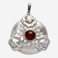 Art Nouveau 800 Silver Amber Pendant Andreas Odenwald Roses