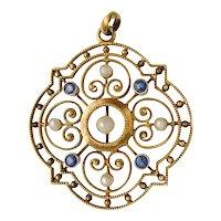 Art Nouveau 585 gold pendant pearl sapphire