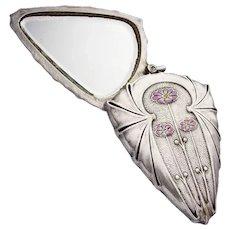 Art Nouveau Erhard & Soehne mirror pendant enamel