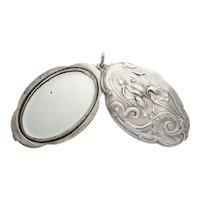 Large XXL Art Nouveau Silver Mirror Locket Pendant iris flower
