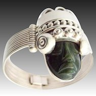 Los Ballesteros Taxco Mexico Silver Bracelet Nephrit Jade Face Mask Bangle